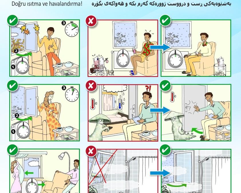 Tipps zum Sparen in elf Sprachen – Poster mit Comic zeigt Wege zur Senkung von Heizkosten