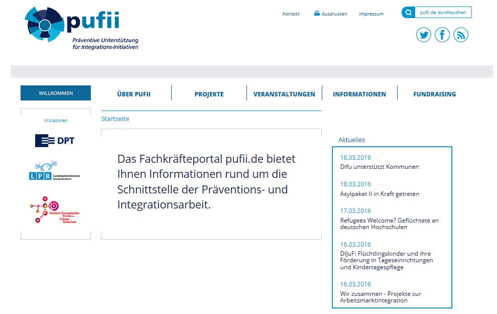Informationsportal für Präventions-Fachkräfte gestartet – www.pufii.de unterstützt Integration von Flüchtlingen