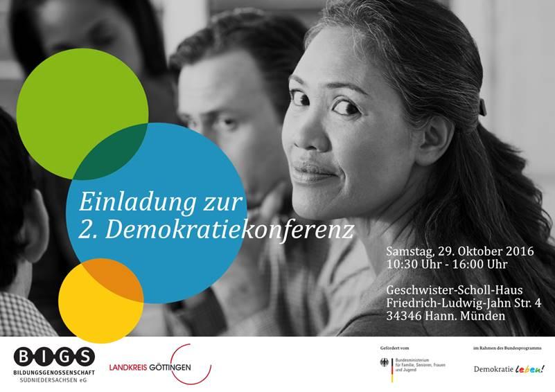 Einladung zur 2. Demokratiekonferenz im Rahmen der Partnerschaft für Demokratie