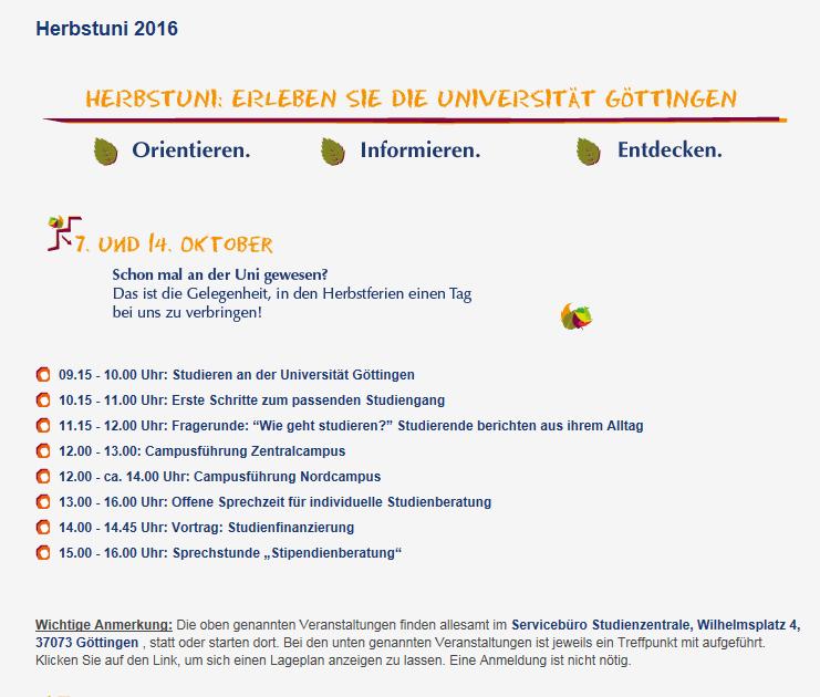 Herbstuni wieder am 14. Oktober an der Uni Göttingen – Orientieren. Informieren. Entdecken.
