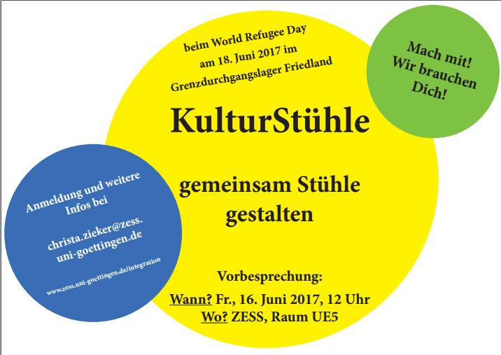 """Aktion zum Weltflüchtlingstag – """"KulturStühle-Aktion"""" der Uni Göttingen"""