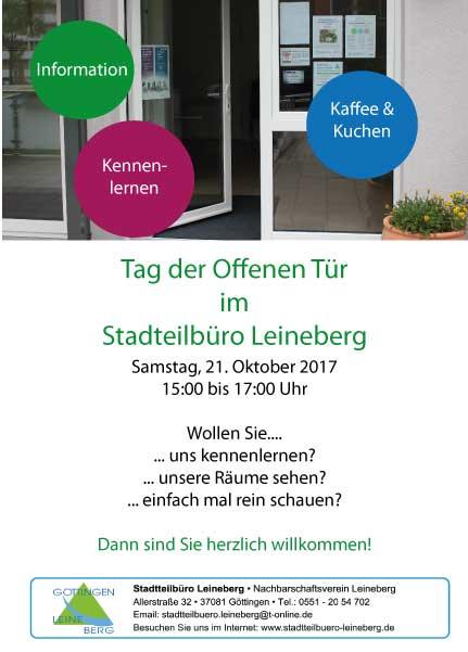 Tag der Offenen Tür im Stadtteilbüro Leineberg am Samstag, den 21. Oktober, von 15:00 bis 17:00 Uhr.