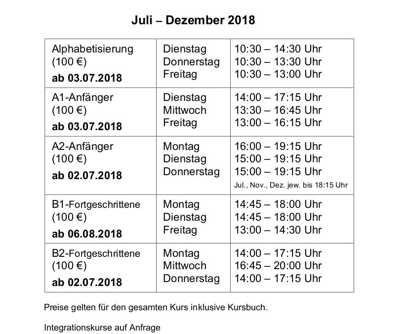 Deutschkurse im Migrationszentrum von Juli bis Dezember 2018