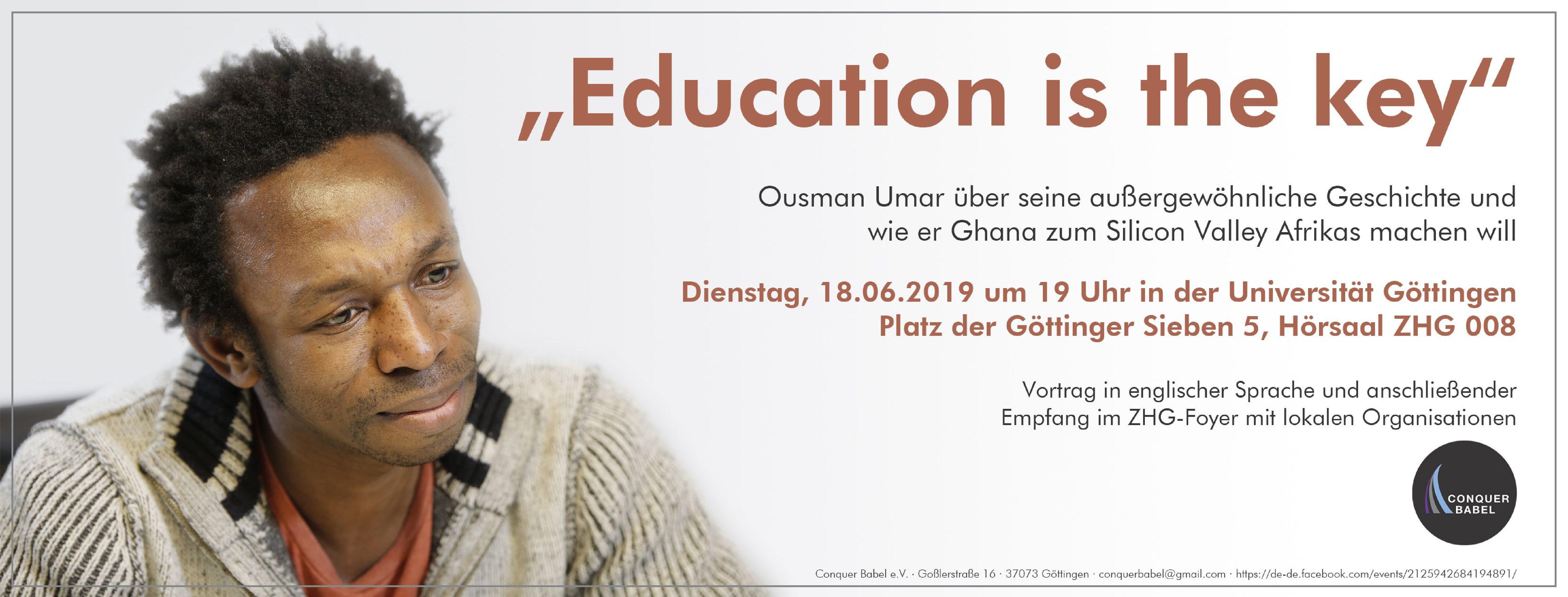 "Vortrag mit anschließendem Empfang: ""Education is the key"""