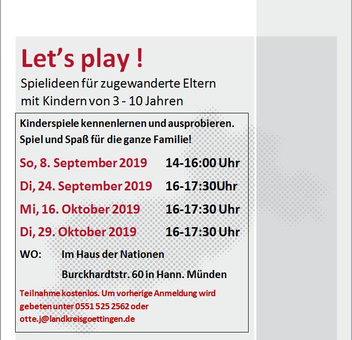 Sonntag 8. September: Let's Play im Haus der Nationen – Für Familien mit Kindern von 3-10
